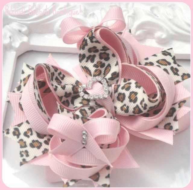 Pink and Leopard Print Boutique Hair Bow with Crystal Detail-pink, boutique hair bow, hairbows uk, leopard print , animal print