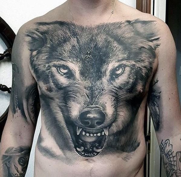 60 Great Tattoos For Men Masculine Design Ideas Chest Tattoo Wolf Tattoos Wolf Tattoos
