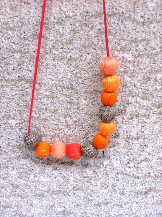 Colorful Necklace with yarn beads (made to order). $20.00, via Etsy.