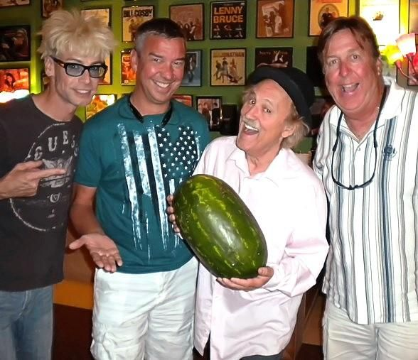 Renowned stand-up comedian Ted Holum, originally from Chicago, and Rich Clesen of Celebrity Cruises visited Comedy Illusionist Murray SawChuck backstage along with prop comic and watermelon-smasher Gallagher backstage at The Tropicana where they are both performing.