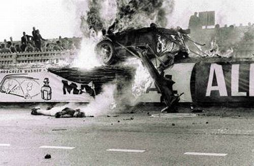 June 11, 1955 Le Mans Disaster | Pierre Levegh's Mercedes-Benz crash caused large pieces of racing car debris to fly into the crowd. Eighty-three spectators and driver Pierre Levegh died at the scene, whilst 120 more were injured in the most catastrophic accident in motorsport history.