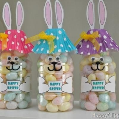 Should use for our March meeting craft idea since it is two weeks before Easter :) Great craft for easter using small water bottles, cupcake liners and google eyes