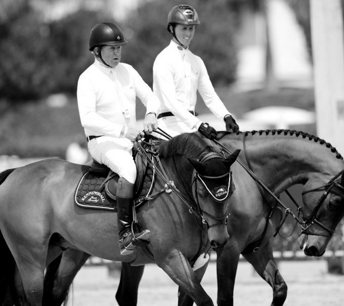 Nick Skelton and Ben Maher at the Winter Equestrian Festival 2015.