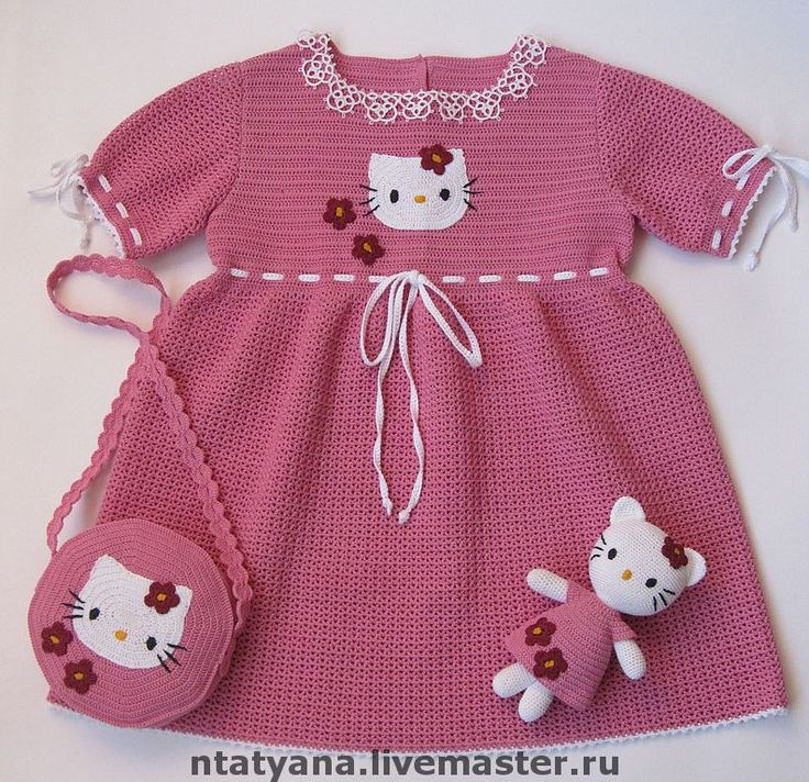 Купить Платье Китти - платье, вязаное платье, платье вязаное, платье крючком, детское платье