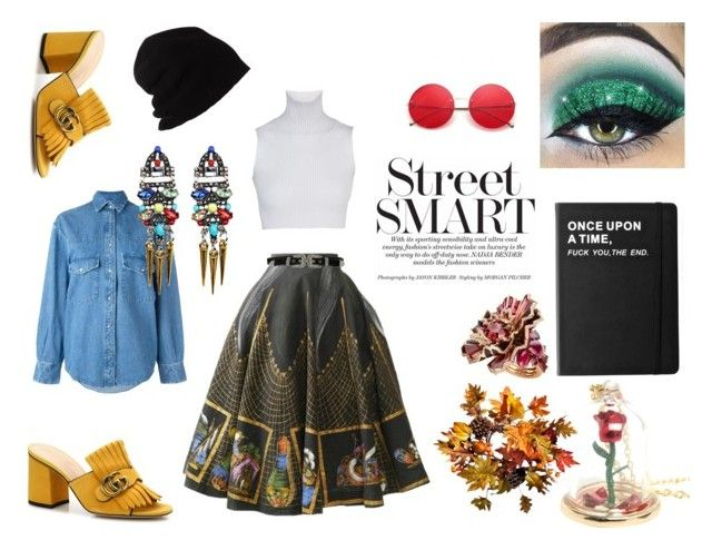 """Street high fashion"" by saney ❤ liked on Polyvore featuring SCHA, Gucci, Disney, Passionata, B-Low the Belt, Golden Goose, Improvements and Killstar"