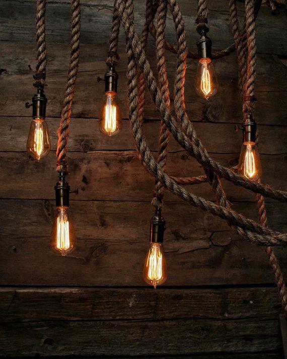 Il Forrest grigio industriale corda luce - Swag lampada da soffitto - luce d