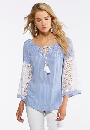 287a040e305 Cato Fashions Plus Size Lace Trim Poet Top  CatoFashions