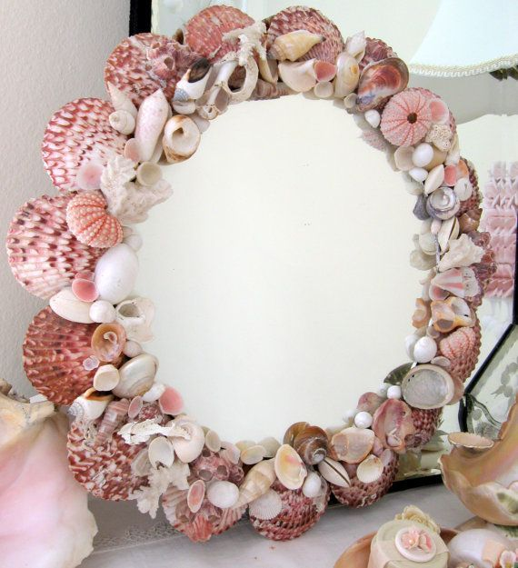 Decorating Mirrors with Seashells | Old Seashell Mirror Beach Cottage Decor
