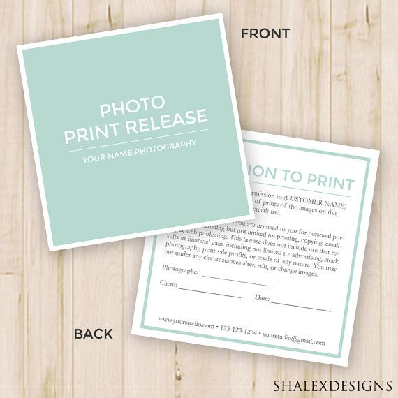 Photography Forms--- Templates for Photographers - Invoice, Image - photographer release form