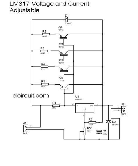 Variable Power Supply Circuit Diagram Using Lm317 | 10a Lm317 Adjustable Power Supply And Current Booster In 2019