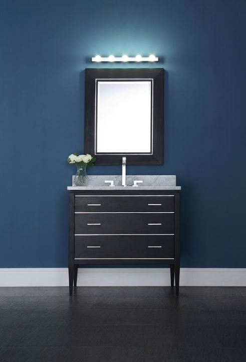 Inspiration Web Design Bathroom Vanity Sophisticated elegance u Chrome accents u Matching mirror with chrome trim u Cherry veneer