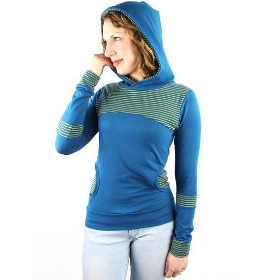Longsleeve Blau Blaues Longsleeve Longsleeve Mit Kapuze Streifen Longsleeve Faire Mode Hergestellt In Deutschland Longsleeve Gestreift Fashion Slow Fashion Summer Shirts
