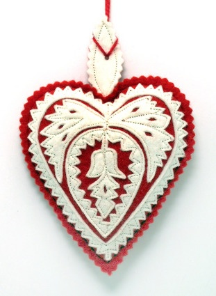 Felt Design Heart Ornament - (Hungary)