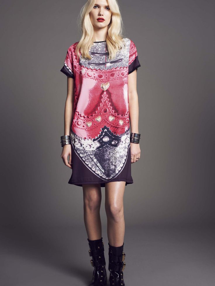 """Model wears Naughty Dog maxi #tshirt with """"francesina shoes"""" maxi print. Glitter details."""