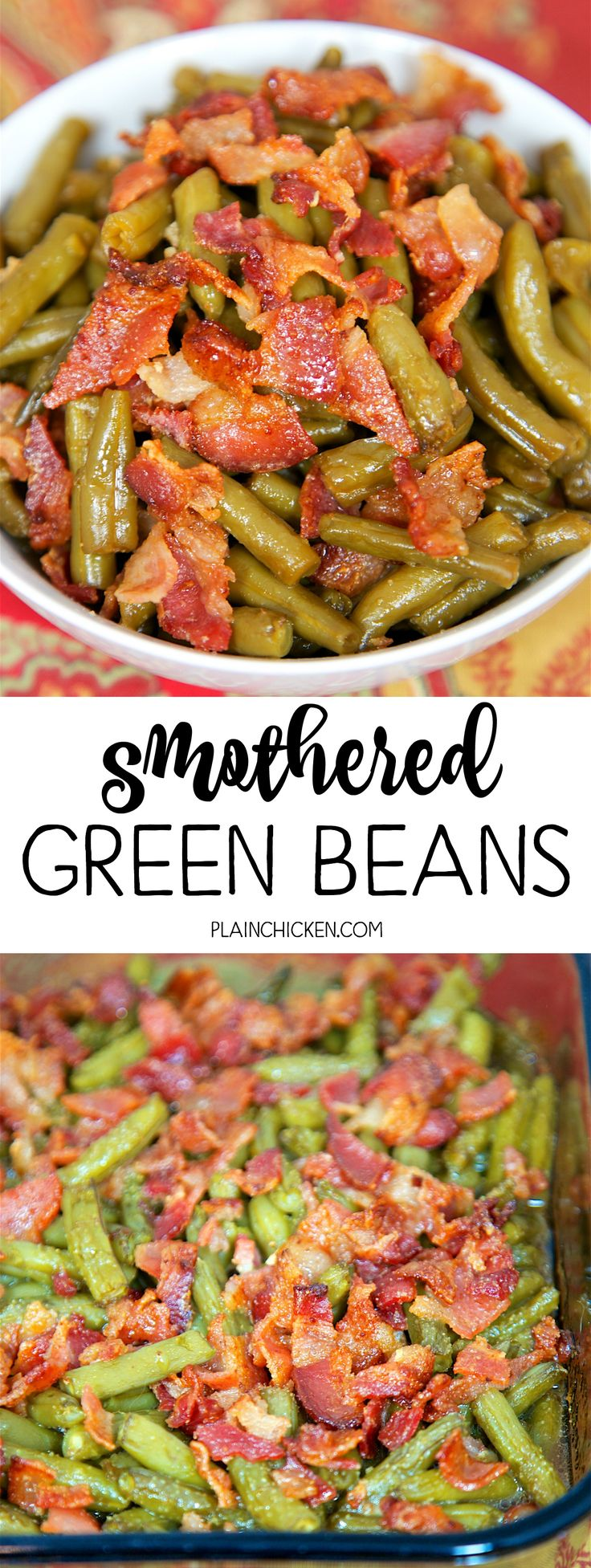Smothered Green Beans ~ Canned green beans baked in bacon, brown sugar, butter, soy sauce and garlic... SO good!! Great for a potluck - Everyone asks for the recipe! Super easy to make.