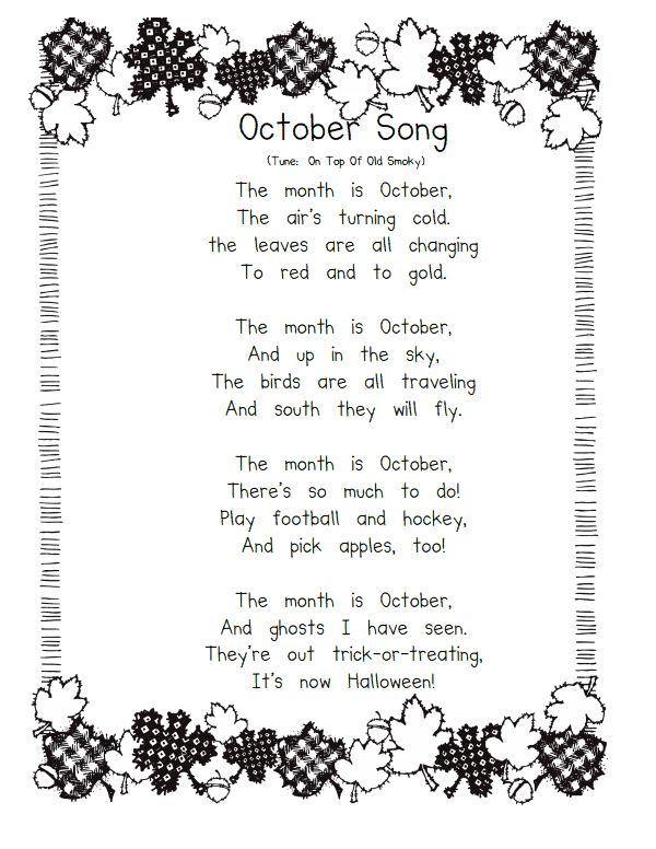 Kindergarten Calendar S S : October songs pdf preschool ideas pinterest
