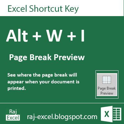 Raj Excel: Microsoft Excel 2013 Short Cut Keys: Alt + WI (Pag...