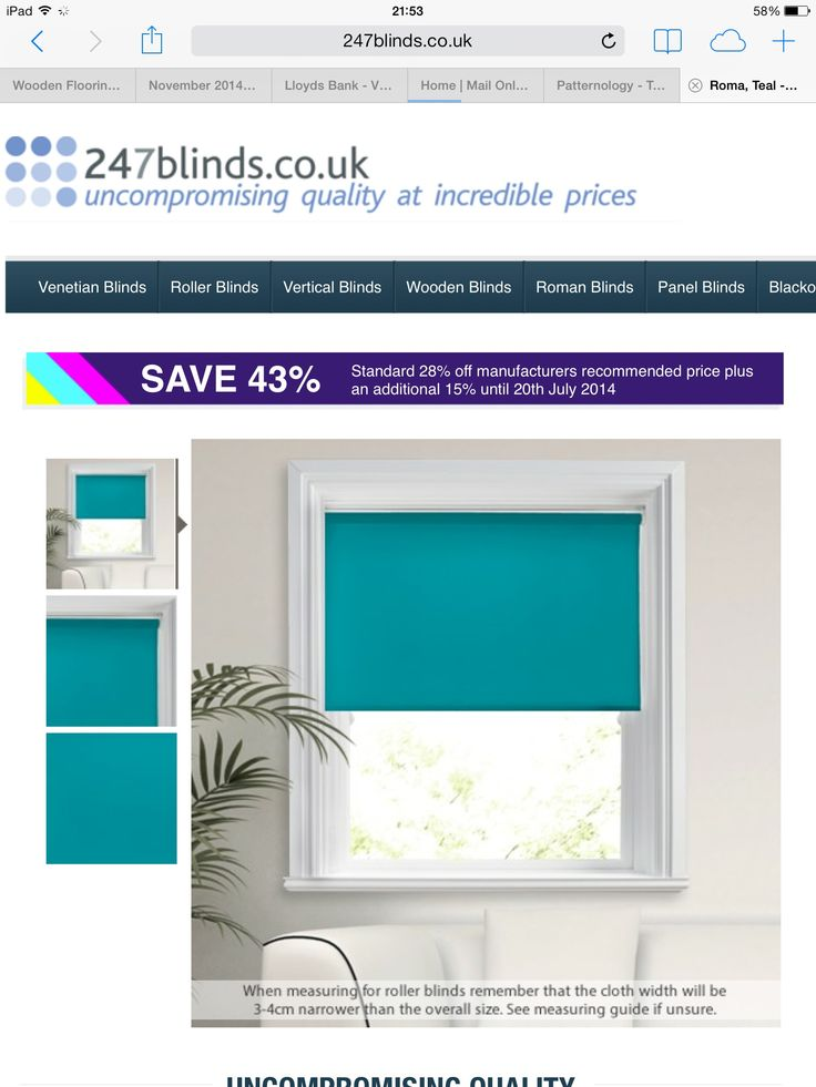 Beautiful Teal roller blind
