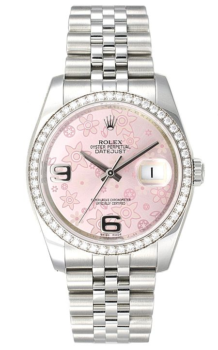 Rolex Pink Oyster Perpetual Datejust Diamond Watch
