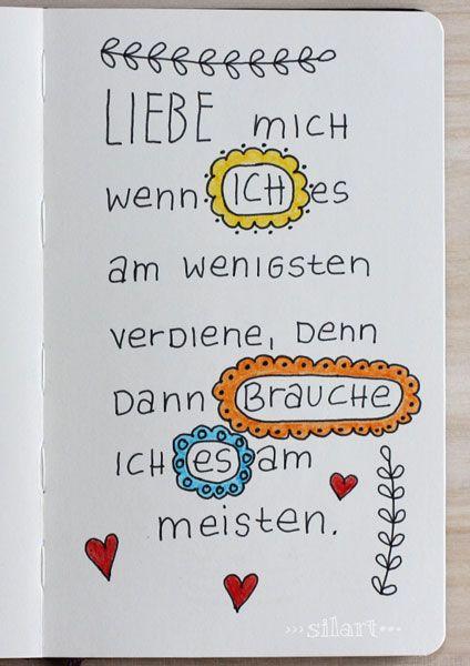 """Sketchbook Handlettering """"Liebe mich"""", Lettering, Quote Art, Word Art, Statements, Zitate, Sprüche"""