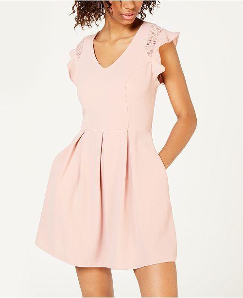 3673af0a6 Speechless Juniors' Flutter-Sleeve Fit & Flare Dress & Reviews - Dresses -  Juniors