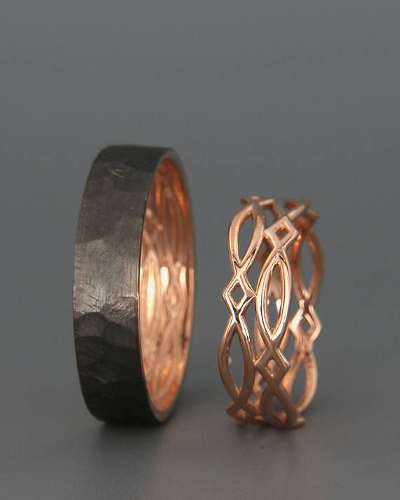 14K Rose Gold Black and Bright Celtic Wedding Rings Set | Handmade 14k rose gold Celtic wedding Rings | His and Hers Wedding Bands Set