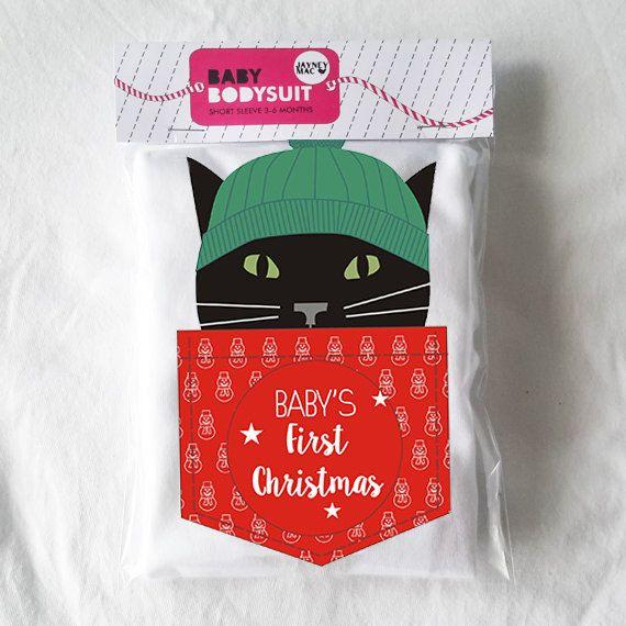 Baby's First Christmas Black Cat Baby Bodysuit/Vest by JayneyMac
