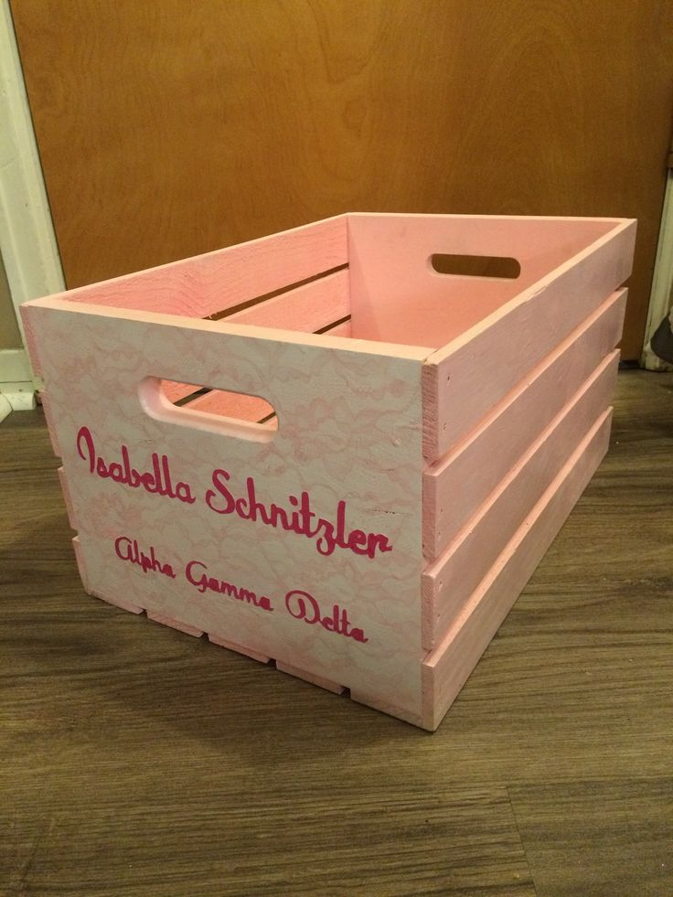 Pink lace spray painted wooden crate for Alpha Gamma Delta AGD big little craft