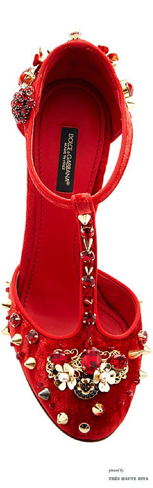 # Dolce & Gabbana Red Velvet Studded T-Strap Pump