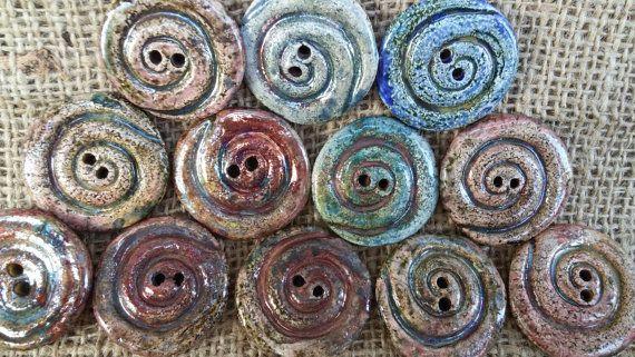 Ceramic Spiral Button 1 2/8 30mm round button by BlueBirdyDesign