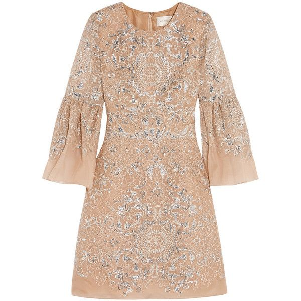 Marchesa Sequined silk-organza mini dress ($4,200) ❤ liked on Polyvore featuring dresses, marchesa, brown, brown cocktail dress, beige cocktail dress, short dresses, marchesa dresses en mini dress
