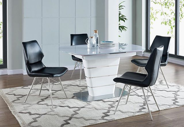Vaux Side Chairs + Alto (expandable) Dining Table = 100% Gorgeous. Only from !nspire....  http://worldwidehomefurnishingsinc.com/vaux-side-chair-in-black-2pk.html