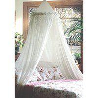 Mosquito Nets 4 U Betthimmel, mit Silberpailletten besetzter Volant weiß