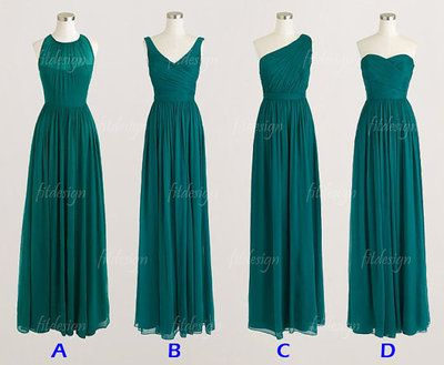 teal bridesmaid dress, long bridesmaid dress, chiffon bridesmaid dress, cheap…