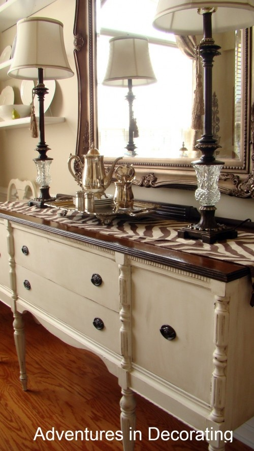 painted buffet with dark wood top