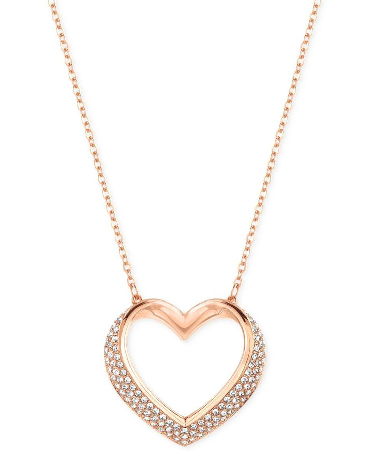 Swarovski Cupidon Rhodium-Tone Crystal Heart Pendant Necklace