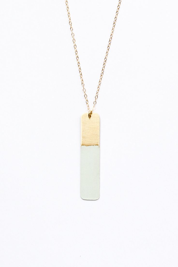 Long gold necklace - gold bar necklace - geometric jewelry - minimalist - layering. $46.00, via Etsy.