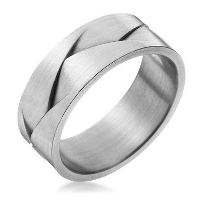 Furrer-Jacot men's braid wedding band.  This is a cool look.  I wonder if lotion gets stuck lol
