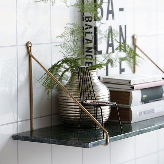 House Doctor - Hylla - Marmor grön och mässing 24x70 cm | dukatbord.se