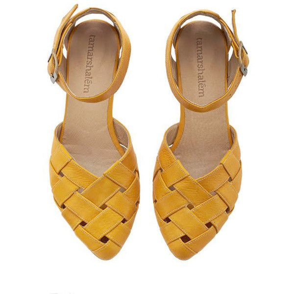 Yellow Braided Handmade Leather Flat Sandals Sophie by Tamar Shalem ($189) ❤ liked on Polyvore featuring shoes, sandals, black, women's shoes, black buckle sandals, leather flats, buckle sandals, yellow flat shoes and leather shoes