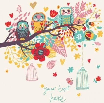 cartoon owl background vector design