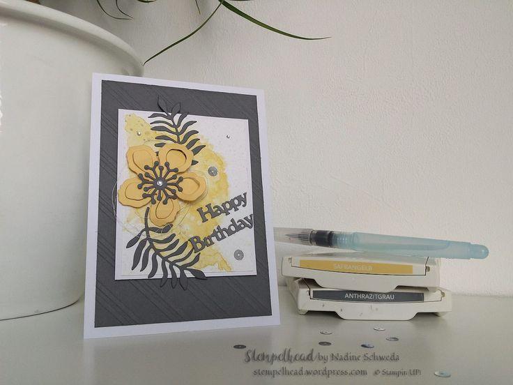 Stampin UP! Karte zum Geburtstag in Anthrazitgrau, Flüsterweiß und Safrangelb. Im Aquarelldesign