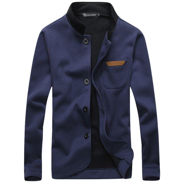 2015 new style Mens fashion Hoodies cardigan men's casual Sweatshirts stand collar coat jacket men suit design 4 colors