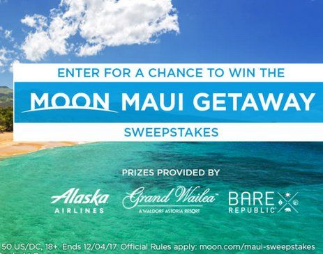 Win $2,400.00 in two Alaska Airlines airfare vouchers each of which will be valid for one economy-class round-trip ticket for winner and his/her guest only on flights to Kahului Airport on the island of Maui in Hawaii that are marketed by Alaska...