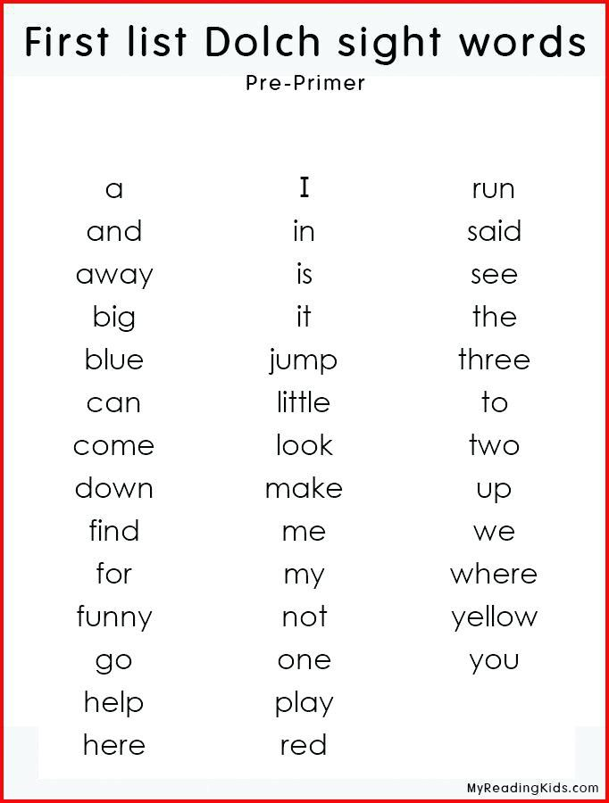 Pre K Sight Words K Sight Word List In 2020 With Images