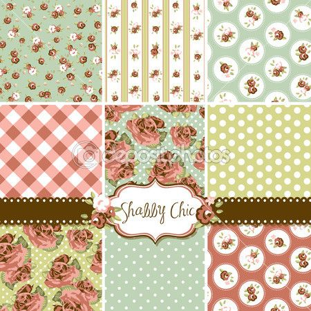 Shabby Chic Rose Patterns and seamless backgrounds. Ideal for printing onto fabric and paper or scrap booking. — Grafika wektorowa © AlisaFoytik #16793913