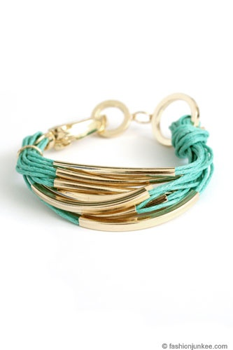 Multiple Strand Layering Bracelet with Gold Accent-Mint Aqua