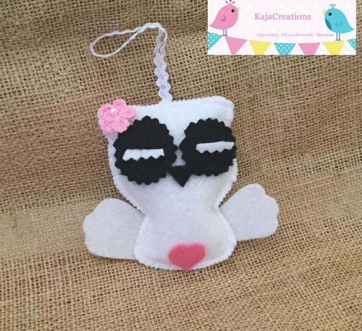 Handmade by KajaCreations. Spooky but cute little Ghost Owl. For more information, please visit https://www.facebook.com/HandmadeMarkets
