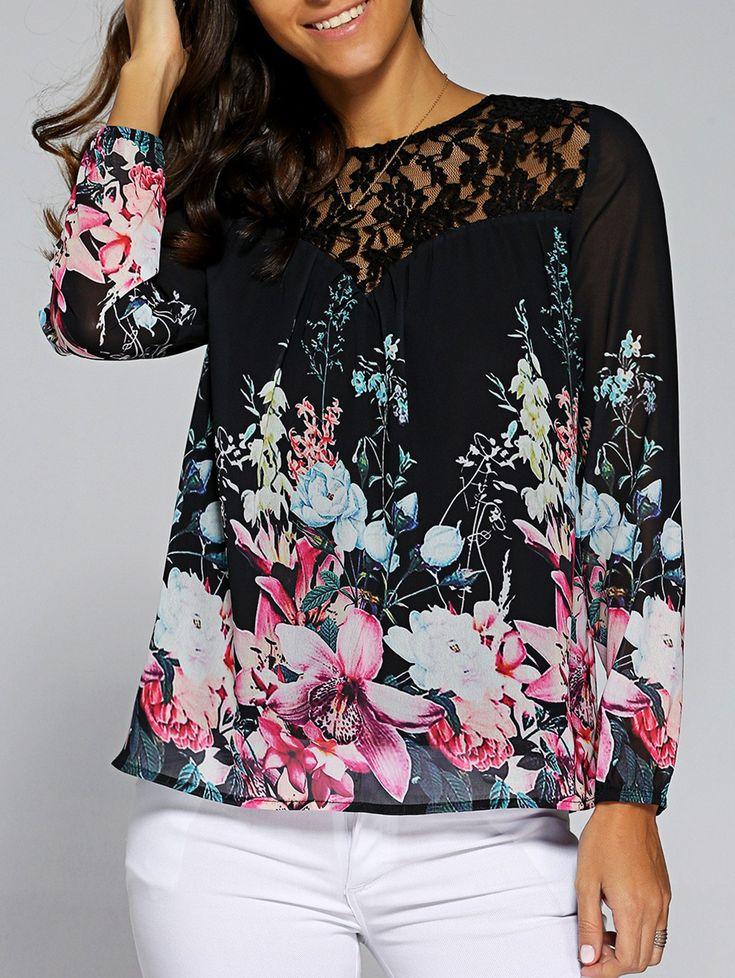 Floral Pattern Lace Patchwork Blouse