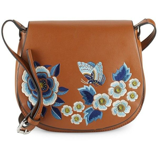 French Connection Katie Floral Leather Saddle Bag ($40) ❤ liked on Polyvore featuring bags, handbags, shoulder bags, french connection, french connection purse and french connection handbags